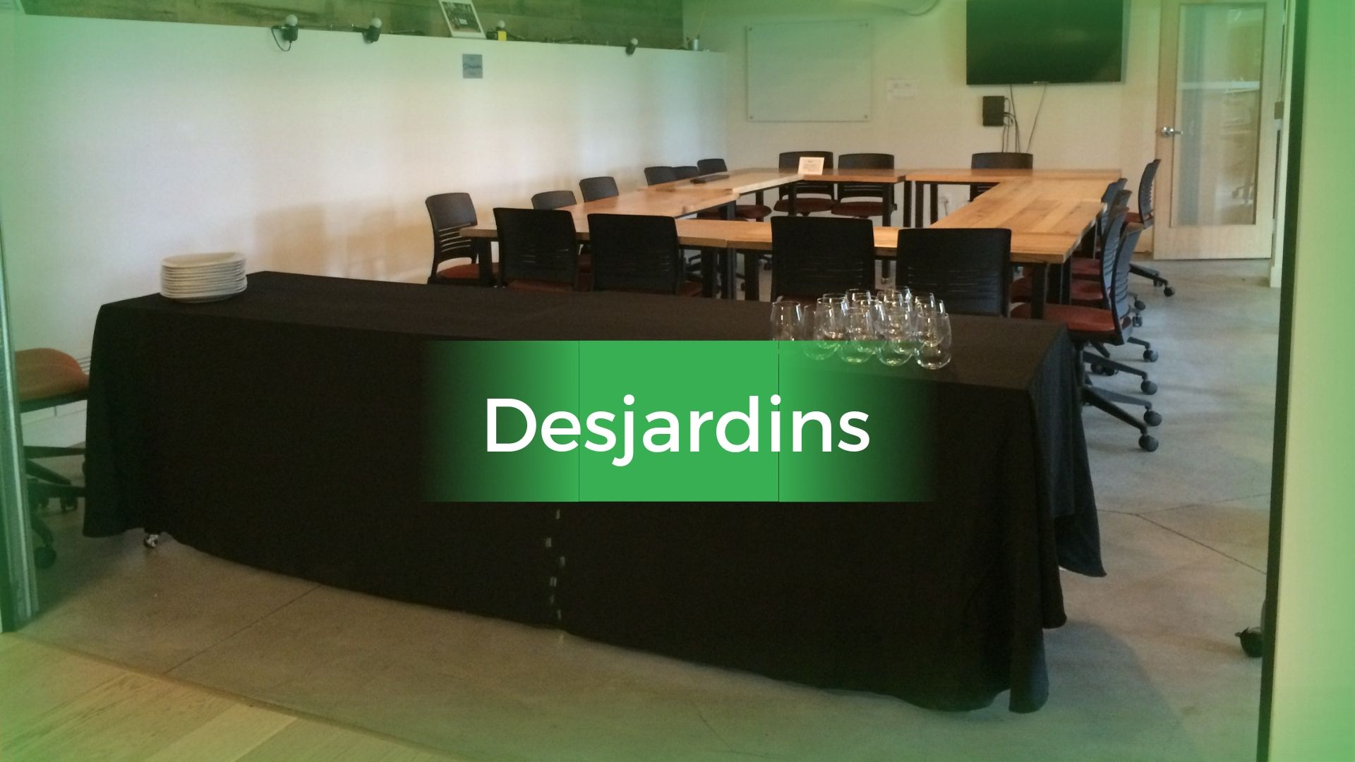 Desjardins Room (20-30 people; 20 chairs; computer; keyboard; mouse; screen; whiteboard; markers) [$40/hr]