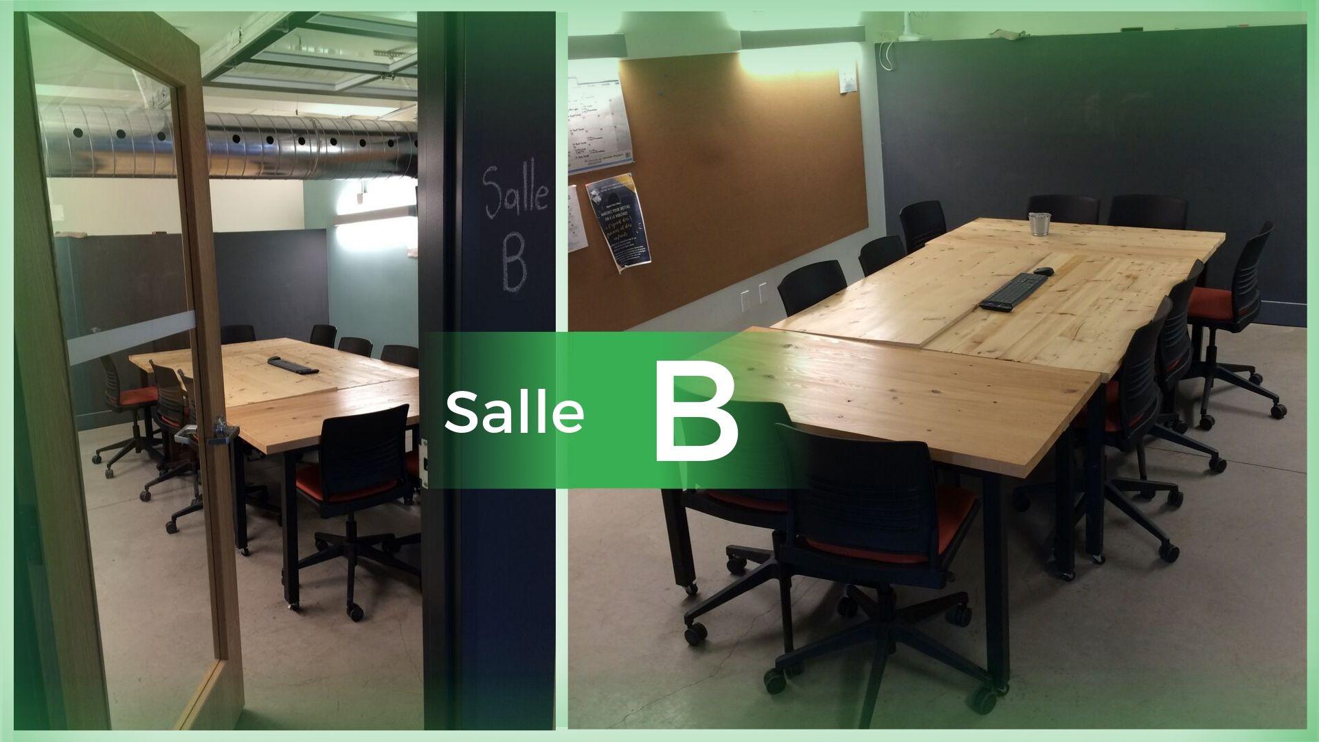 Salle B (2-12 personnes; 12 chaises; ordinateur; clavier; souris; écran; tableau; craie.) [25$/hr]
